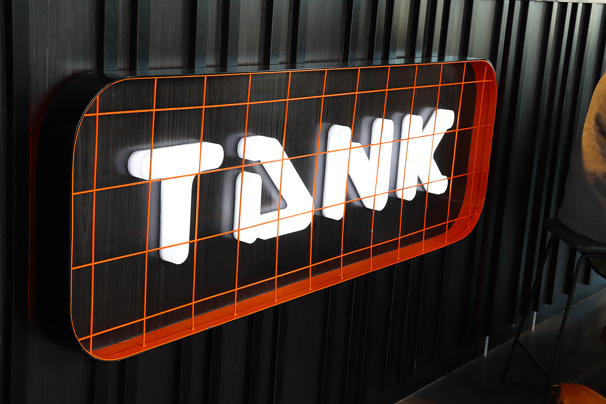 Tank juice 3D lettering sign with internal lighting, Auckland