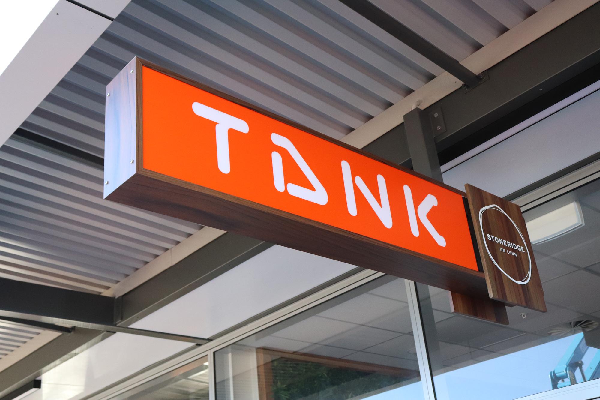 Tank Juice internally lit verandah sign