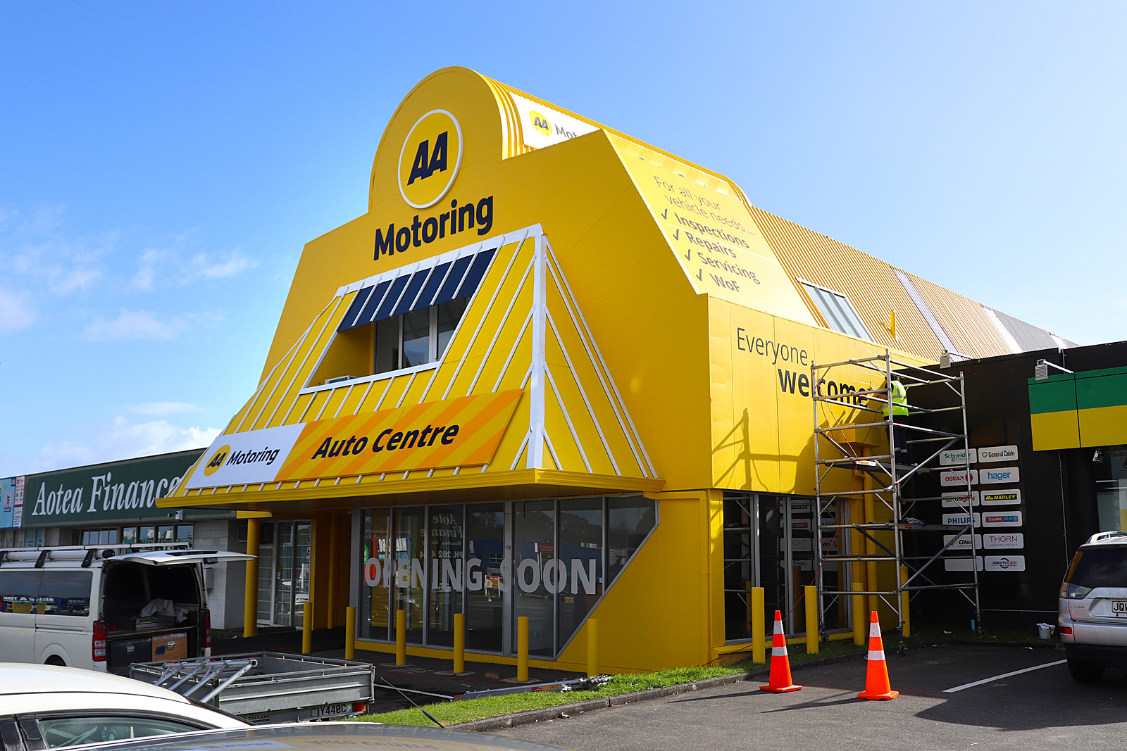 AA Manukau - completed signage featuring 3d lettering, ACM panels over aluminium frames and PVC canvas