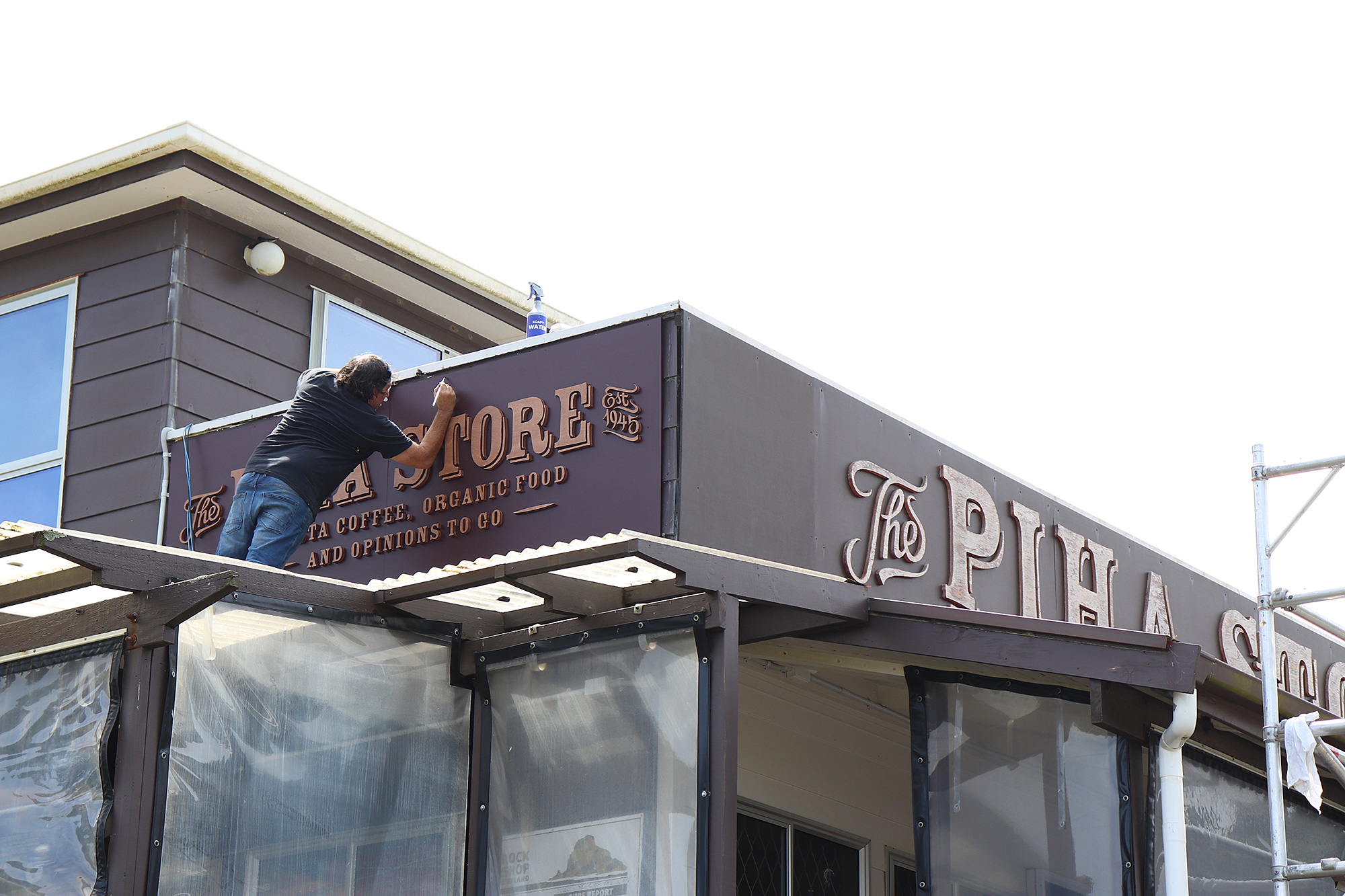 Piha store sign installation by Xtream signs