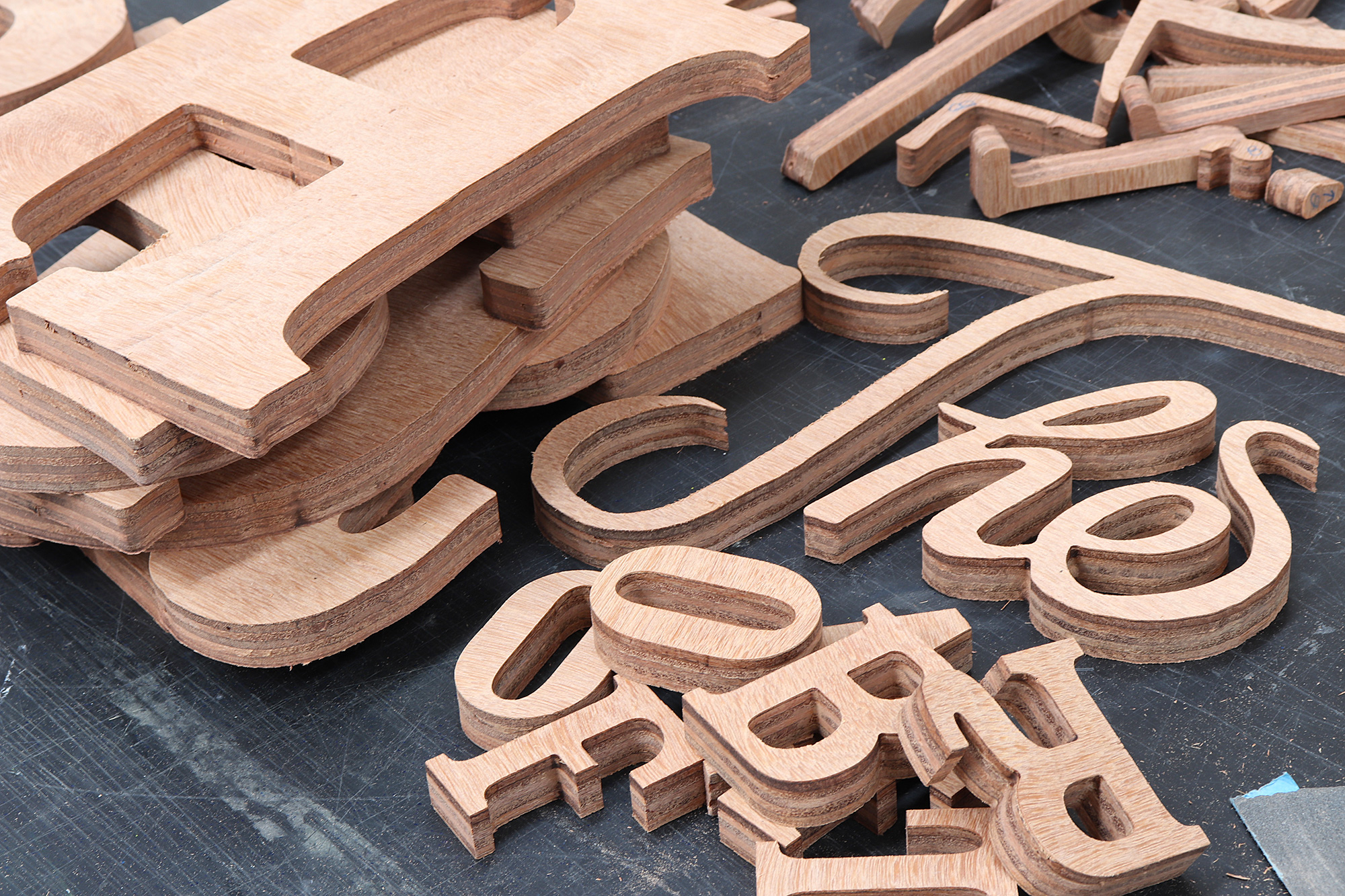 Piha store sign plywood 3d cut letters