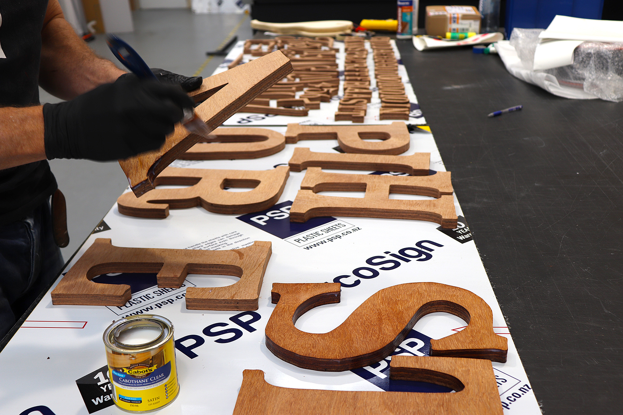 Piha store plywood 3d lettering preparation